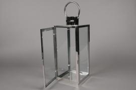 A005BL Lanterne en métal argent 16cm x 16cm H42cm