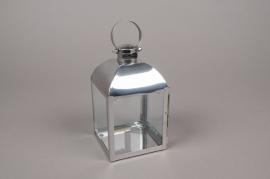 A007BL Lanterne en métal argent carré L10cm H18.5cm
