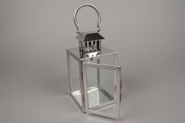 A015BL Lanterne en métal argent carré L12cm H25.5cm