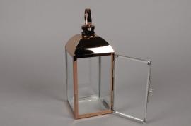 A013BL Lanterne en métal cuivre 10cm x 10cm H23.5cm