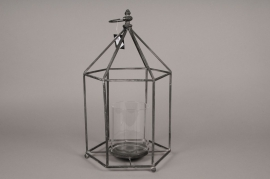 C021DQ Lanterne en métal noir 27 x 27cm H47cm