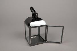 A010BL Lanterne en métal noir carré L10cm H18.5cm
