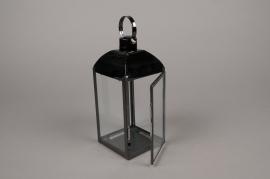 A014BL Lanterne en métal noir carré L10cm H23.5cm