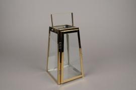 A025BL Lanterne en métal or 14cm x 14cm H24cm