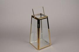 A026BL Lanterne en métal or 17cm x 17cm H34cm