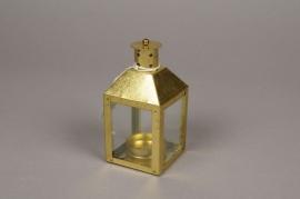 A022E6 Lanterne en métal or 6cm x 6cm H12.5cm