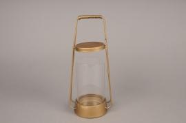 A005S0 Lanterne en métal or laiton D12.5cm H29.5cm