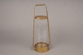 A004S0 Lanterne en métal or laiton D14cm H37cm