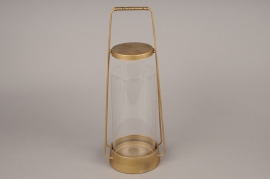 A006S0 Lanterne en métal or laiton D16cm H43cm