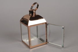 A009BL Lanterne en métal or rose 10cm x 10cm  H18.5cm