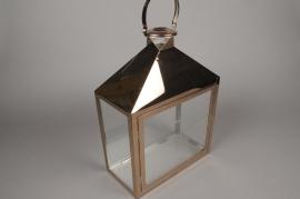 A022BL Lanterne en métal or rose 15.5cm x 30cm H45cm