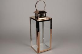 A019BL Lanterne en métal or rose 16cm x 16cm H42cm