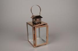 A018BL Lanterne en métal or rose carré L12cm H25.5cm