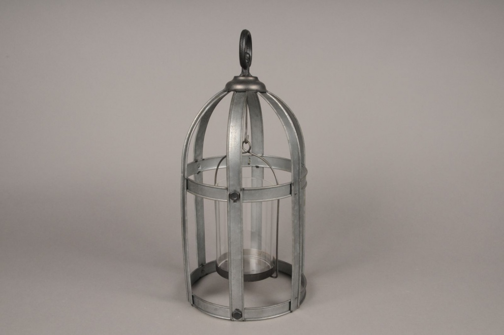 A011S0 Lanterne en métal vieilli D18.5cm H39cm