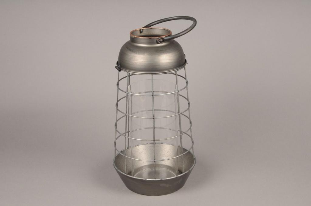 A015S0 Lanterne en métal vieilli D21cm H40cm