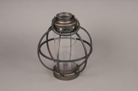 A012S0 Lanterne en métal vieilli D25.5cm H30cm