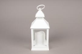 A007A1 Lanterne en plastique blanc 10cm x 10cm H24cm