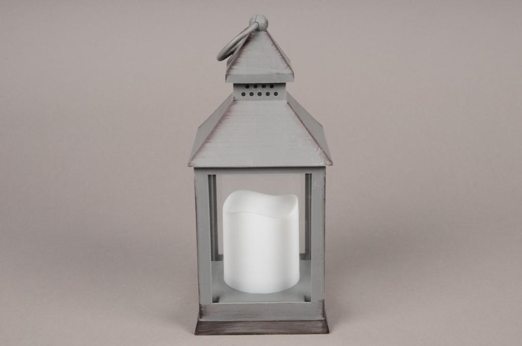 A006A1 Lanterne en plastique gris 13.5cm x 13.5cm H32cm