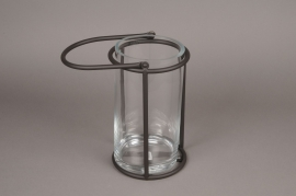 A020ZV Glass and black metal lantern D13cm H28cm