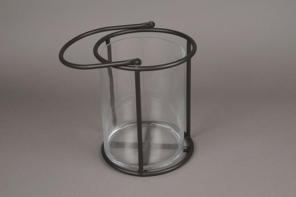 A019ZV Lanterne en verre et métal noir D21cm H28cm