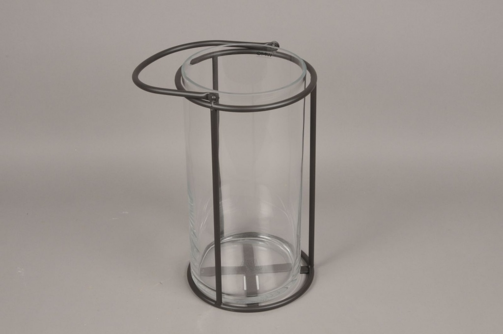 A021ZV Lanterne en verre et métal noir D23cm H41cm