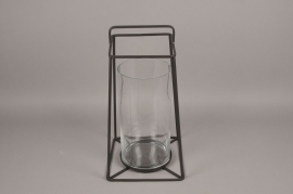 A008ZV Glass and black metal lantern H46cm