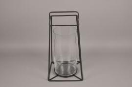 A008ZV Lanterne en verre et métal noir H46cm