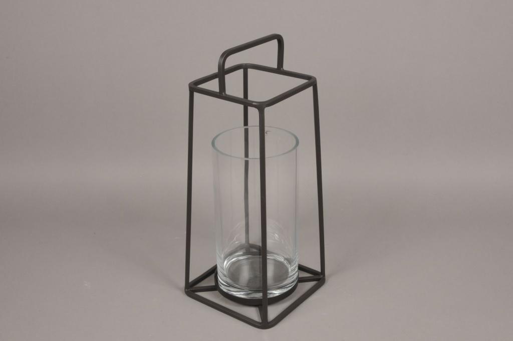 A009ZV Lanterne en verre et métal noir H57cm