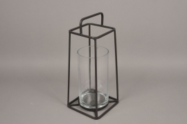 A009ZV Glass and black metal lantern H57cm