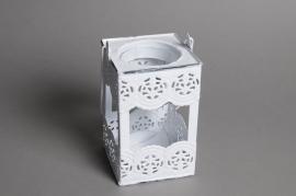 A575UO Lanterne en zinc blanc 10 x 10cm H16.5cm