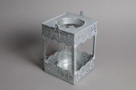 A576UO Lanterne en zinc gris 10 x 10cm H16.5cm