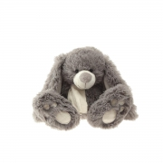 A004W2 Lapin gris écharpe blanche H27cm