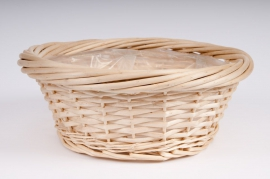 Light wicker round bowl D35 H14cm