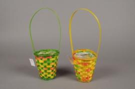 MU03VX Lily bamboo basket green yellow D10cm H13cm