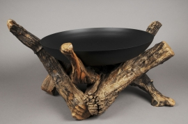 A425UO Metal bowl on wooden support D45cm H36cm