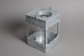 A576UO Metal lantern grey 10 x 10cm H16.5cm