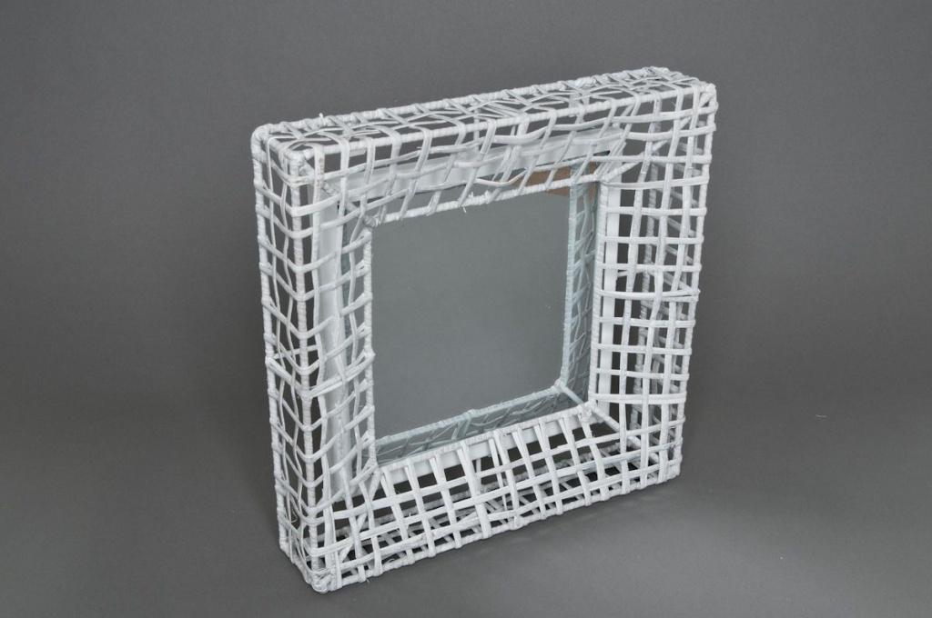 Miroir structure en métal blanc 32x32cm
