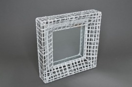 Mirror with metal structure white 32x32cm