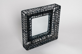 Mirror with metal structure black 32x32cm