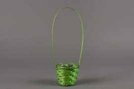 MU00VX Green Lily of the valley wicker basket D8cm H8cm