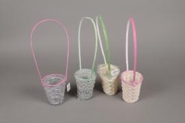 MU08VX Lily bamboo basket white D10cm H12cm