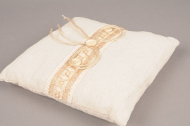 Natural linen cushion for weeding ring 19cm x 19cm