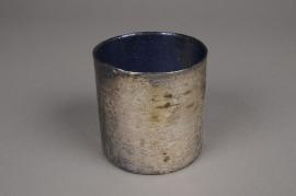 B086LE Old gold glass jar blue interior D10cm H10cm