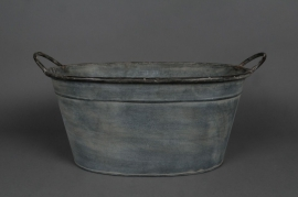 Old looking zinc basin with handle 44x30 H21cm