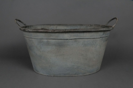 Old looking zinc basin with handle 52x36 H25cm