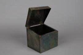 A059A9 Old looking brass zinc box 15 x 13 H14cm