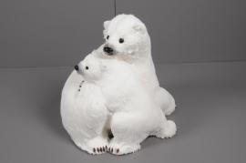 X012V6 Ours et ourson blanc H39cm