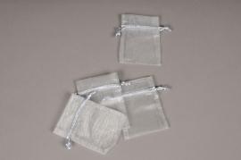 A451UN Pack of 10 grey organza bags 9cm x 12cm