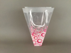 MU34MO Pack of 10 plastic conical bags pink 24x7cm H36cm