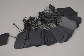 A002TG Pack of 100 black kraft labels 3.5cm x 6cm
